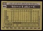 1990 Topps #183  Steve Lake  Back Thumbnail