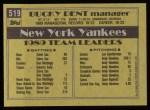 1990 Topps #519  Bucky Dent  Back Thumbnail