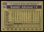 1990 Topps #353  Sandy Alomar Jr.  Back Thumbnail