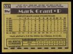 1990 Topps #537  Mark Grant  Back Thumbnail