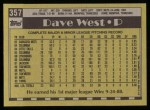 1990 Topps #357  Dave West  Back Thumbnail