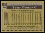 1990 Topps #115  Tony Pena  Back Thumbnail