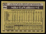 1990 Topps #478  Mike LaValliere  Back Thumbnail