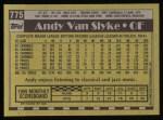 1990 Topps #775  Andy Van Slyke  Back Thumbnail