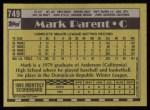 1990 Topps #749  Mark Parent  Back Thumbnail