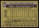 1990 Topps #202  Mike Macfarlane  Back Thumbnail