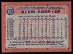 1991 Topps #752  Kevin Bass  Back Thumbnail