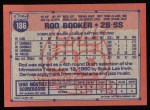 1991 Topps #186  Rod Booker  Back Thumbnail