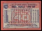 1991 Topps #738  Mel Hall  Back Thumbnail