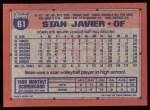 1991 Topps #61  Stan Javier  Back Thumbnail
