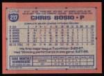 1991 Topps #217  Chris Bosio  Back Thumbnail