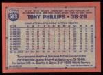 1991 Topps #583  Tony Phillips  Back Thumbnail