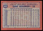 1991 Topps #412  Dave Bergman  Back Thumbnail