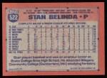 1991 Topps #522  Stan Belinda  Back Thumbnail