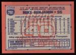 1991 Topps #791  Mike Benjamin  Back Thumbnail