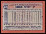 1991 Topps #536  Mike Witt  Back Thumbnail