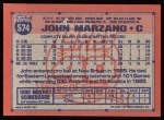 1991 Topps #574  John Marzano  Back Thumbnail