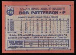 1991 Topps #479  Bob Patterson  Back Thumbnail