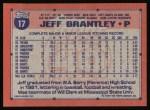 1991 Topps #17  Jeff Brantley  Back Thumbnail