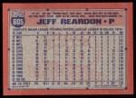 1991 Topps #605  Jeff Reardon  Back Thumbnail