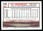 1992 Topps #146  Al Newman  Back Thumbnail