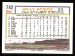 1992 Topps #742  Bill Spiers  Back Thumbnail