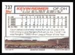 1992 Topps #737  Kevin Reimer  Back Thumbnail