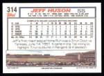 1992 Topps #314  Jeff Huson  Back Thumbnail