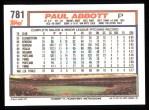 1992 Topps #781  Paul Abbott  Back Thumbnail