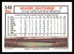 1992 Topps #548  Mark Guthrie  Back Thumbnail