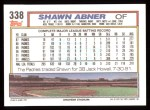 1992 Topps #338  Shawn Abner  Back Thumbnail