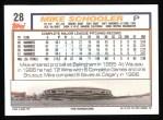 1992 Topps #28  Mike Schooler  Back Thumbnail