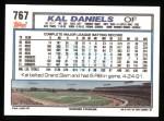 1992 Topps #767  Kal Daniels  Back Thumbnail