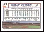 1992 Topps #629  Wally Joyner  Back Thumbnail