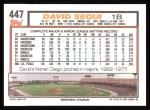1992 Topps #447  David Segui  Back Thumbnail