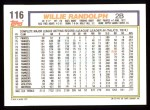 1992 Topps #116  Willie Randolph  Back Thumbnail
