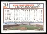 1992 Topps #758  Tim Naehring  Back Thumbnail