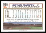 1992 Topps #568  Bryan Harvey  Back Thumbnail