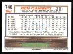 1992 Topps #740  Ken Caminiti  Back Thumbnail