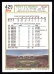1992 Topps #429  Tony La Russa  Back Thumbnail