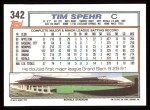 1992 Topps #342  Tim Spehr  Back Thumbnail