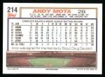 1992 Topps #214  Andy Mota  Back Thumbnail