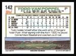 1992 Topps #142  Todd Van Poppel  Back Thumbnail