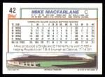 1992 Topps #42  Mike Macfarlane  Back Thumbnail