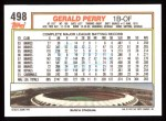 1992 Topps #498  Gerald Perry  Back Thumbnail