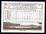 1992 Topps #701  Scott Radinsky  Back Thumbnail