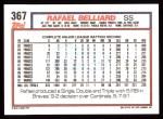 1992 Topps #367  Rafael Belliard  Back Thumbnail
