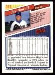 1993 Topps #311  Jay Howell  Back Thumbnail