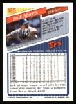 1993 Topps #185  Jack Morris  Back Thumbnail