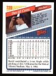 1993 Topps #720  David Cone  Back Thumbnail